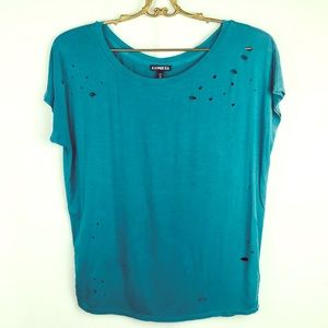 Express Teal distressed tee